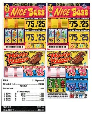 "/"" Who Wants to Win/"" 3 Qty $1 5W Pull Tab 280 Tkts U pick Prize seal card"