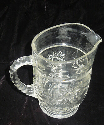 Anchor Hocking Glass Early American Prescut Star of David Pattern Small Pitcher
