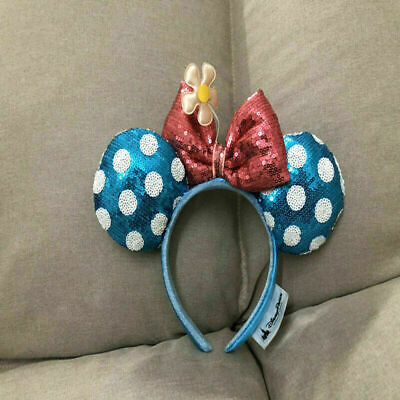 Disney Parks Minnie Mouse Ears blue Bow Hat Metallic Sequin gift