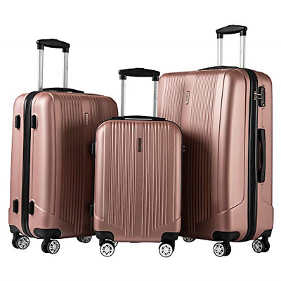 3 Piece Set Suitcase with TSA Lock Spinner Hard shell Lightweight Rose gold
