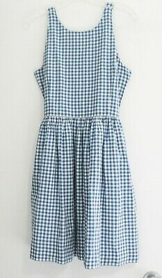 Polo Ralph Lauren Girls Gingham Cotton Dress Blue Sz 16 - NWT