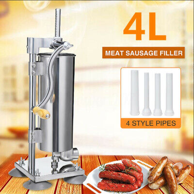 4L Sausage Filler Stuffer Meat Maker Manual Machine & Stand 304 Stainless Steel