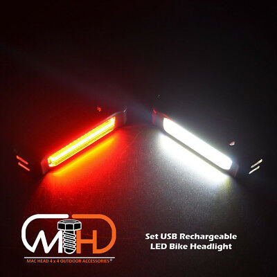 USB Rechargeable LED Bike Front Light headlight lamp Bar rear Tail Wide Beam Set