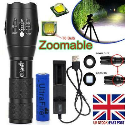 Ultrafire Focus Tactical Torch T6 LED 50000LM Flashlight &18650 Battery &Charger