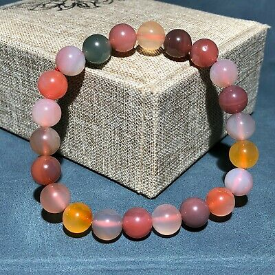 Collectible Chinese Colorful Agate Round Beads Handwork Noble Rainbow Bracelet