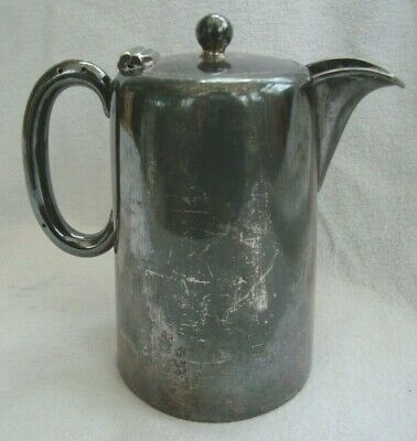 Antique Country House Silver Plate Coffee Pot Hot Water Jug Hinged Lid Sturdy