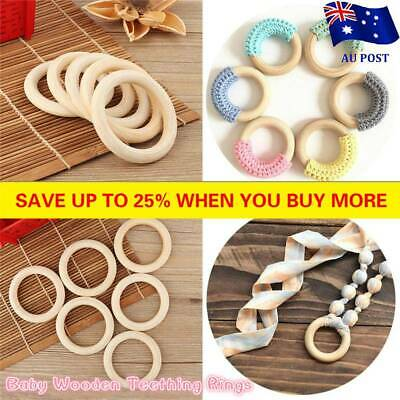 5X 70mm Baby Wooden Teething Rings Necklace Bracelet DIY Crafts Natural New