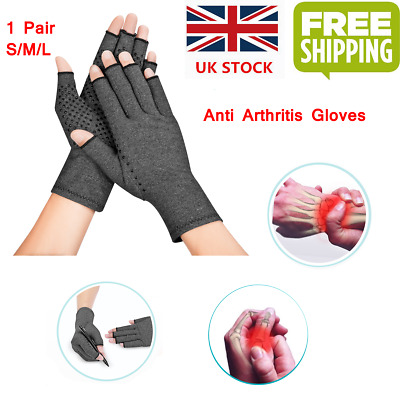 Anti Arthritis Copper Fingerless gloves compression therapy improves circulation