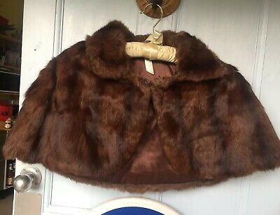 Vintage 1950's real fur small brown shoulder cape stole with collar lined