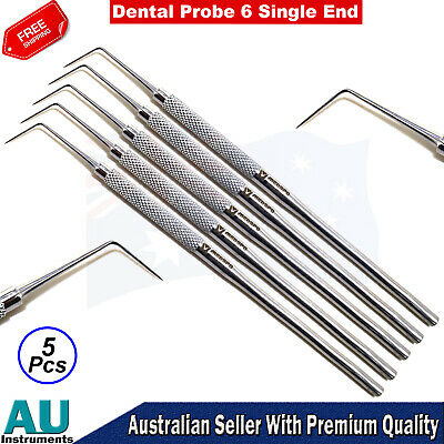 Dental Hygienist Probe 6 Single End Diagnostic Dentist Basic Hand Instruments CE