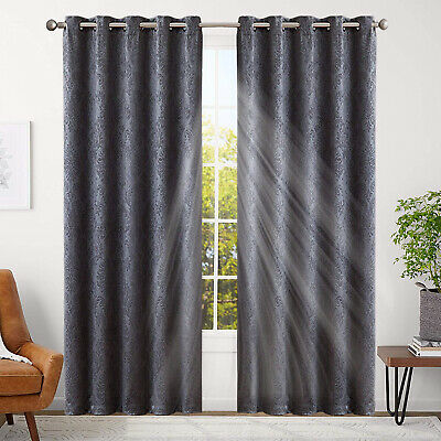 Thick Thermal Blackout Ready Made Eyelet Ring Top Pair of Curtains with Tie Back