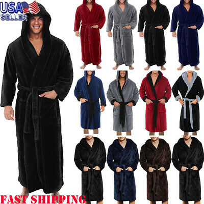 Men Winter Warm Plush Length Shawl Bathrobe Long Sleeve Robe Coat Sleepwear C73