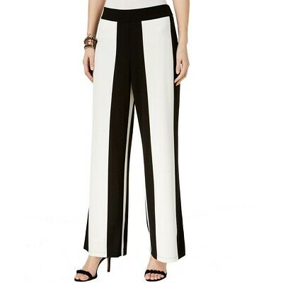 INC Women's Black/white Wide-leg Regular Mid Rise Pull On Casual Pants XXL TEDO