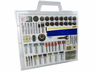 216 Pc Rotary Tool Kit Bit Set Polishing Drilling Grinding Cutting With Case