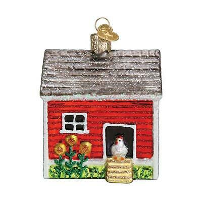 """""""Chicken Coop"""" (16128)X Old World Christmas Glass Ornament w/OWC Box"""