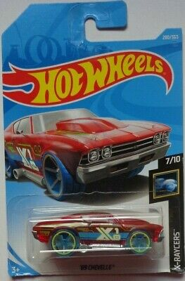 2018 Hot Wheels #280 X-Racers 7//10 /'69 CHEVELLE Trans Red w//Blue Wheel OH5 Spoke