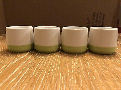 Teavana Tea Cup Set With 4 - 3.5oz. Ceramic Cups White & Green.