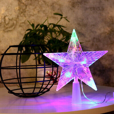 Christmas Tree Topper LED Lamp Star Light Battery Xmas Tree Christmas Party 33