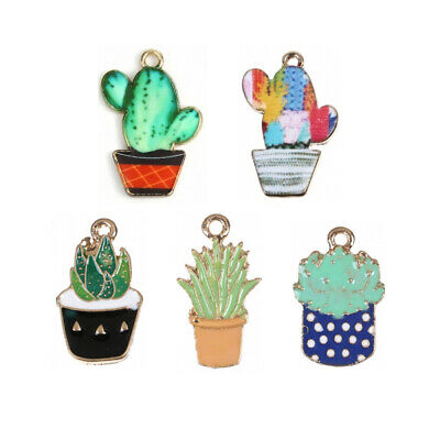 10Pcs Enamel Cactus Pot Plant Charms Pendants DIY Jewelry Crafts Accessories