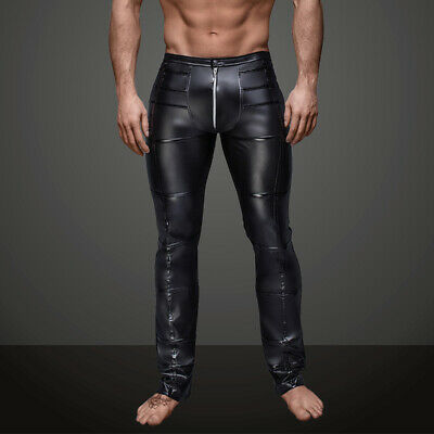 Sexy Mens Faux Leather Wetlook Tight Club Punk Pants Zip Long Trousers Gay Wear