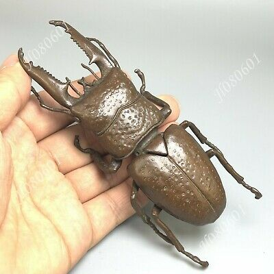 Collectible Vintage Old Pure Solid Copper Handwork Chinese Stag Beetle Statue