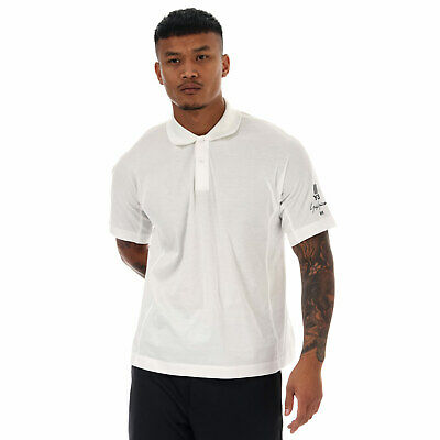 Mens Y-3 New Cuff Logo Polo Shirt In White