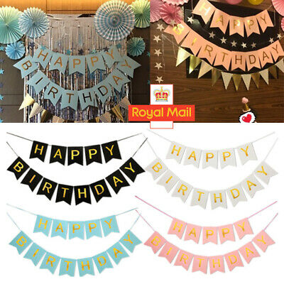 Happy Birthday Bunting Banner Pastel Hanging Letters Party Decor Garland Child