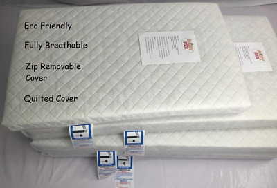 EXTRA THICK Travel Cot Mattress 93 x 64 x 10 CM QUILTED Breathable - UK Made