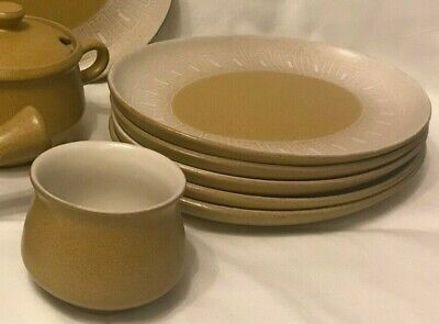 Pottery Denby Stoneware - Ode - Plates, Sugar Bowl 1960's