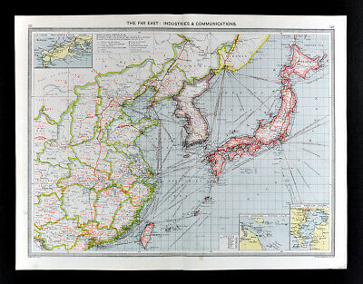 1907 Map Asia Industry Steamer Japan Korea China Taiwan London Geographical Inst