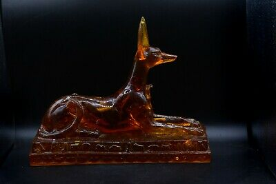 rare Egyptian God anubis large statue heavy Amber dust vintage made in egypt