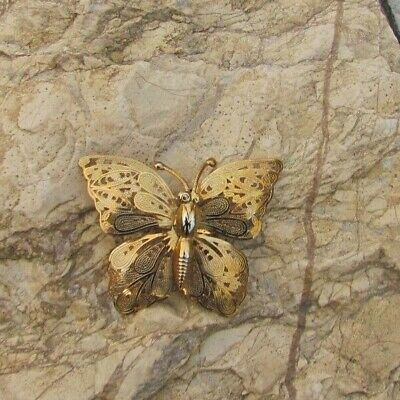 Gold Tone Filigree Butterfly Pin Brooch Insect Bug Beautiful