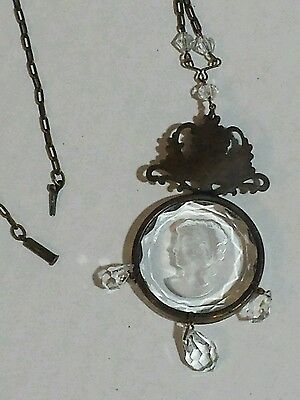 Antique Cameo Art Deco Nouveau Crystal Glass Cameo Brass Old Vintage Necklace