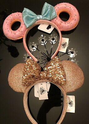 Disney Parks Briar Rose Gold & Pink Sprinkles Donut Minnie Mouse Ears Headband