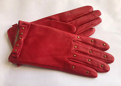 Dents Ladies Red Studded Leather Lined Gloves Size 6.5 Small Bnwot
