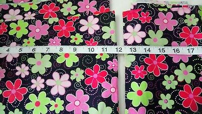 DREAMTIME FLOWERS BLACK by FQ and METRE AUSTRALIAN ABORIGINAL QUILTING FABRIC