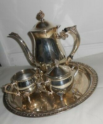 Leonard Silver Plated 4 Piece Coffee Tea Set With Serving Tray Coffee Server 9.5