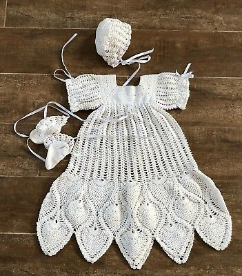 Vintage Handmade Christening gown white hat booties knit antique reborn doll