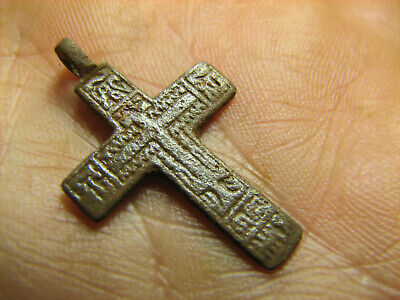 Rare ! Relief ! Nice Late Medieval Orthodox Bronze Cross Pendant #1370