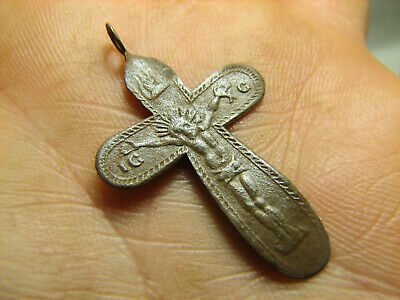 Crucifixion.rare ! Relief.nice Late Medieval Orthodox Bronze Cross Pendant#1373