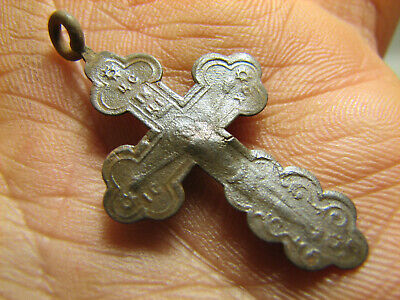 Crucifixion.rare ! Relief.nice Late Medieval Orthodox Bronze Cross Pendant#1376