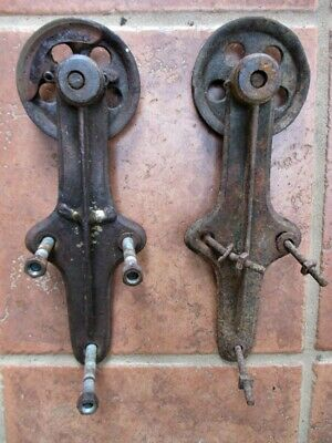 "Vintage Pair,SLIDING BARN DOOR HARDWARE, 2 Iron ROLLERS & HINGES, 4"" Diam."