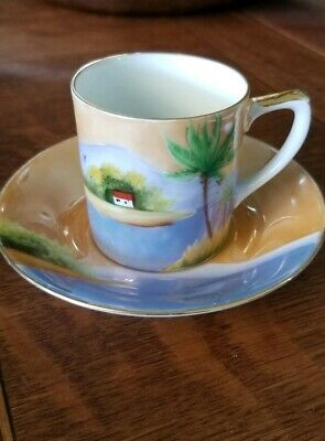 1920s Noritake demitasse Cup And Saucer Peach And Blue Luster