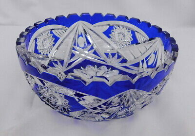 Vintage Bohemian Glass Blue Cut to Clear Crystal Starburst Bowl