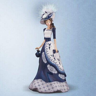 Chelsea Figurine Statue Blue Willow Lady Collection Hamilton Collection
