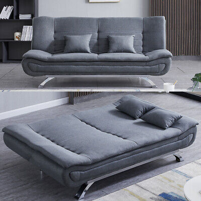 Sofas Bed Modern Fabric Double Sleeper Grey 3 Seater Couch Settee With 2 Pillows