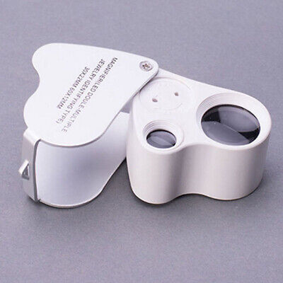 60X 30X Glass Magnifying Magnifier Jeweler Eye Jewelry Loupe Loop With LED Light
