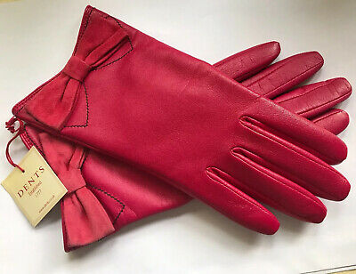 Dents Ladies Cerise Pink  Leather Lined Gloves Size 7 Medium Bnwt