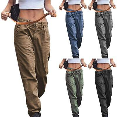 Plus Size Womens Cargo Combat Pants Loose Military Pockets Casual Work Trousers