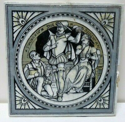 Antique Tile Shakespeare Series Painted Minton Works Stoke On Trent Taming Shrew